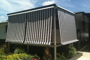 automatic awnings with fabric pattern