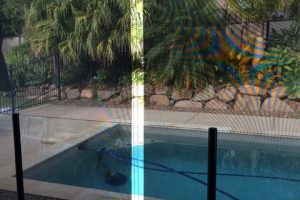 crank awning in pool and patio space