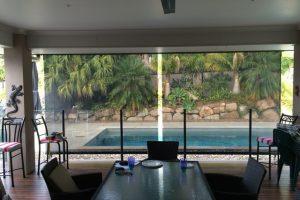 crank controlled external awning near pool