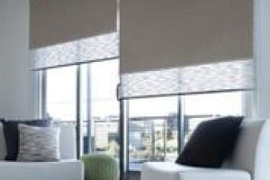 dual rollerblinds in living space interior