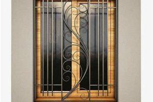 intricate steel bar window pattern