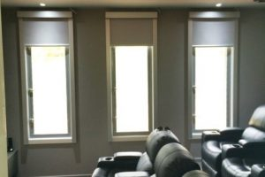 media blinds in home cinema with chairs