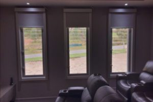media blinds in home cinema with chairs angle 1