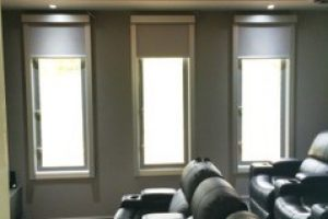 media blinds in home cinema with chairs angle 2