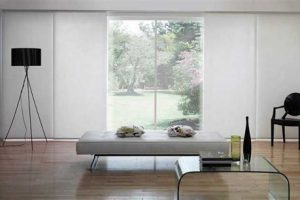 panel glides in sitting area outlooking outdoors