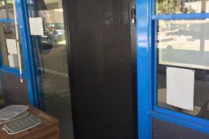 punched aluminium door