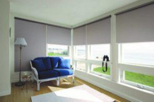 rollerblinds in living room interior set