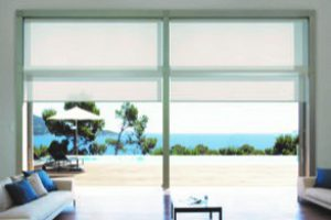rollerblinds in living room interior wide set spacious area