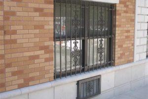 steel bar pattern on window frame
