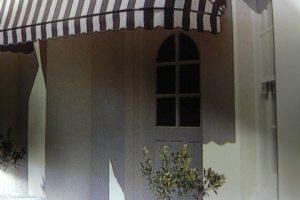 striped dutch hood awning design