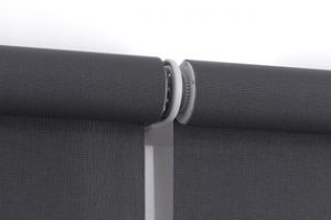 wide set double rollerblinds close-up