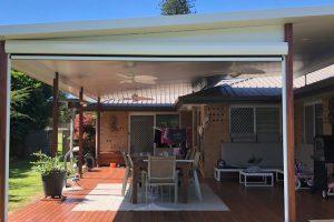 ziptrak external awning in patio space