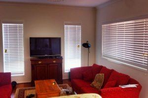 venetian blinds in lounge room