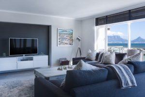 Roller blinds in lounge room