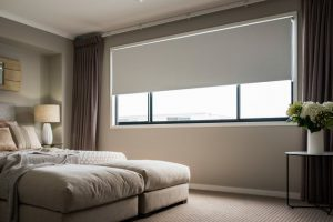Roller blinds in spacious bed room